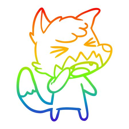 rainbow gradient line drawing of a angry cartoon fox