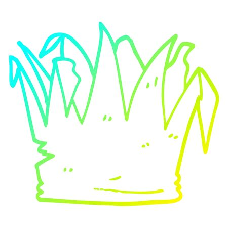 cold gradient line drawing of a cartoon xmas party hat