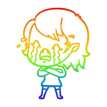 rainbow gradient line drawing of a cartoon crying vampire girl