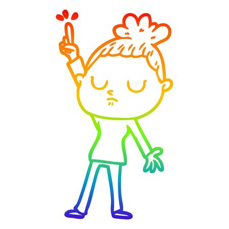 rainbow gradient line drawing of a cartoon calm woman