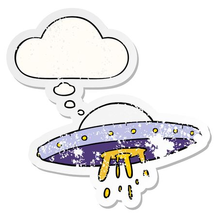 cartoon flying UFO with thought bubble as a distressed worn sticker