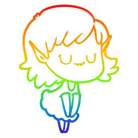 rainbow gradient line drawing of a happy cartoon elf girl wearing dress Ilustracja