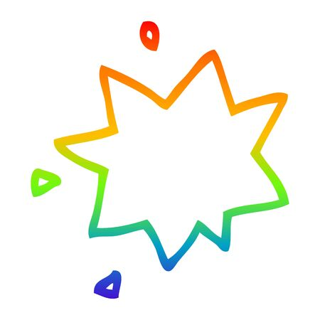 rainbow gradient line drawing of a cartoon explosion symbol