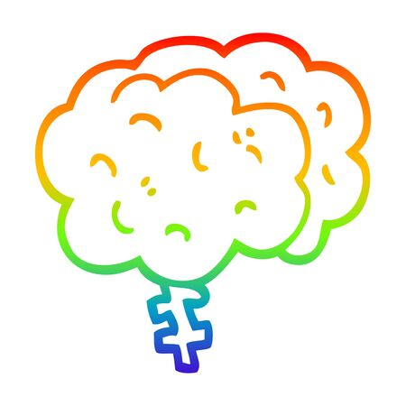 rainbow gradient line drawing of a cartoon brain