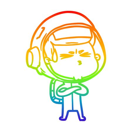 rainbow gradient line drawing of a cartoon stressed astronaut Ilustracja