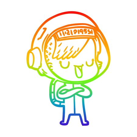 rainbow gradient line drawing of a cartoon astronaut woman Ilustracja