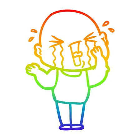 rainbow gradient line drawing of a cartoon crying bald man Ilustracja
