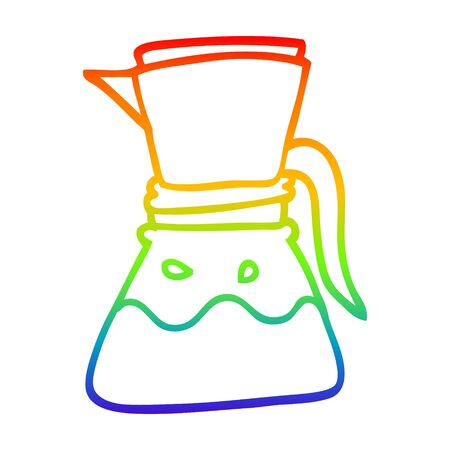 rainbow gradient line drawing of a cartoon filter coffee maker