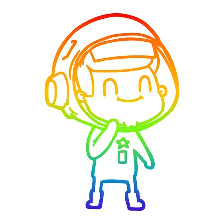 rainbow gradient line drawing of a happy cartoon astronaut