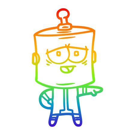 rainbow gradient line drawing of a cartoon robot Ilustracja