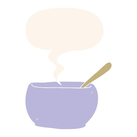cartoon soup bowl with speech bubble in retro style