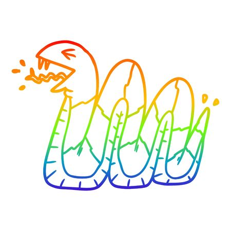 rainbow gradient line drawing of a cartoon hissing snake