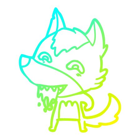 cold gradient line drawing of a cartoon hungry wolf