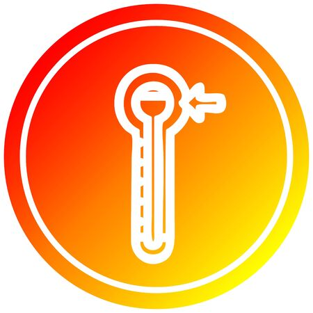 high temperature circular icon with warm gradient finish Illustration