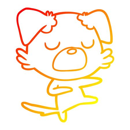 warm gradient line drawing of a cartoon dog