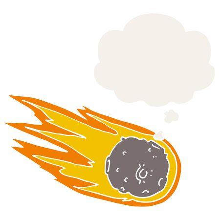 cometa de dibujos animados con globo en estilo retro