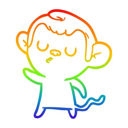 rainbow gradient line drawing of a cartoon monkey Ilustracja