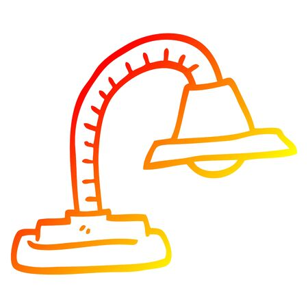 warm gradient line drawing of a cartoon adjustable lamp