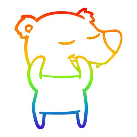 rainbow gradient line drawing of a cartoon polar bear
