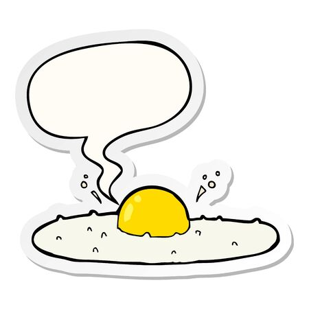 cartoon fried egg with speech bubble sticker Stockfoto - 129256508