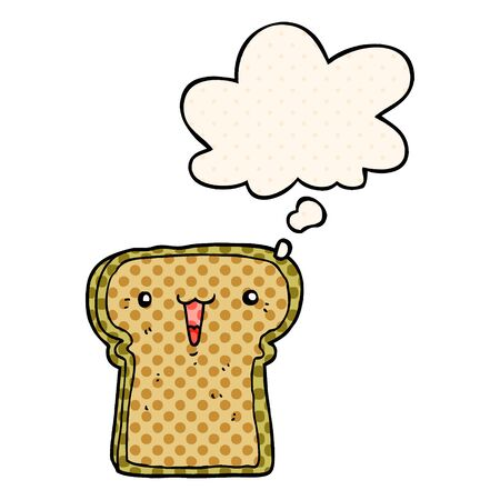 cute cartoon toast with thought bubble in comic book style
