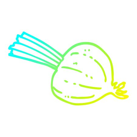 cold gradient line drawing of a cartoon fresh beet