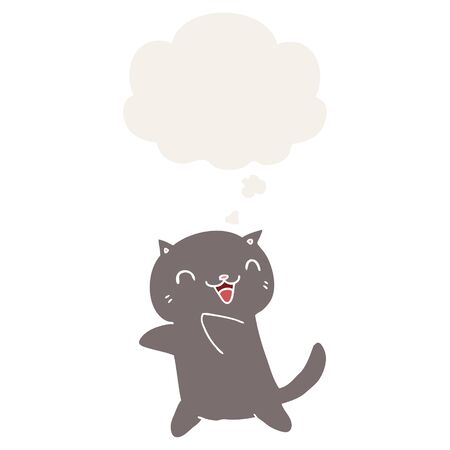 cartoon cat with thought bubble in retro style