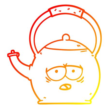 warm gradient line drawing of a cartoon kettle
