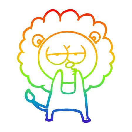 rainbow gradient line drawing of a cartoon tired lion
