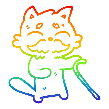 rainbow gradient line drawing of a cartoon old cat