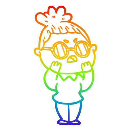 rainbow gradient line drawing of a cartoon annoyed woman