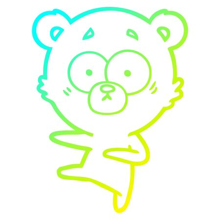 cold gradient line drawing of a nervous dancing bear cartoon