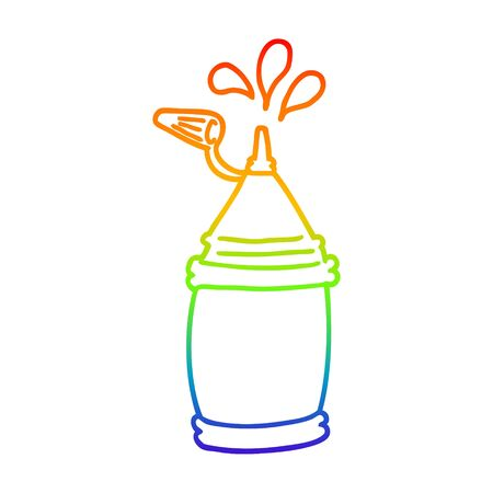 rainbow gradient line drawing of a cartoon ketchup bottle