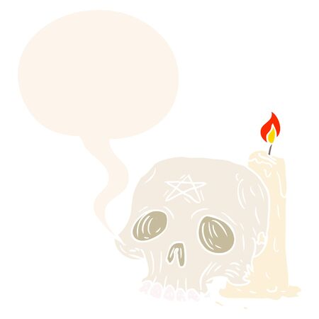 cartoon spooky skull and candle with speech bubble in retro style