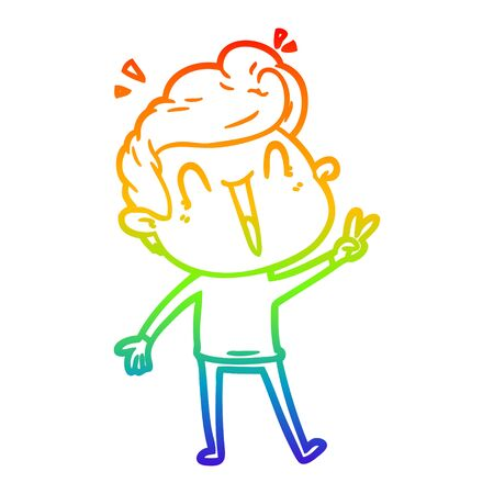 rainbow gradient line drawing of a cartoon excited man Illustration