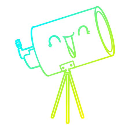 cold gradient line drawing of a cartoon telescope with face