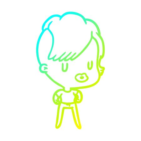 cold gradient line drawing of a girl with punk hipster haircut 向量圖像
