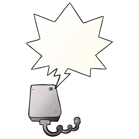 cartoon hard drive with speech bubble in smooth gradient style Illustration