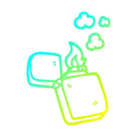 cold gradient line drawing of a cartoon old lighter