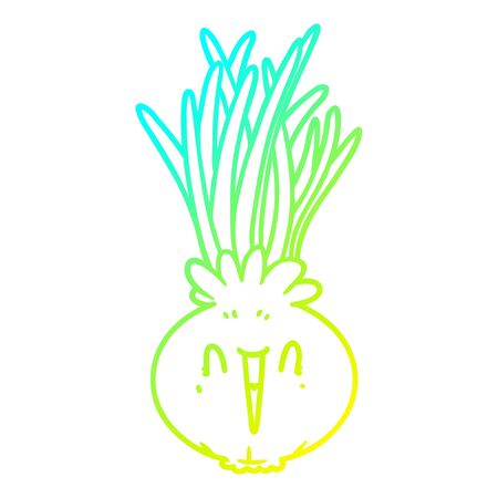 cold gradient line drawing of a cartoon onion