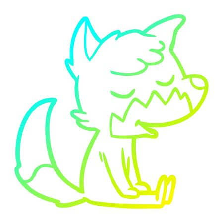 cold gradient line drawing of a friendly cartoon sitting fox