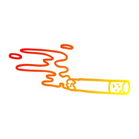warm gradient line drawing of a cartoon cigarette
