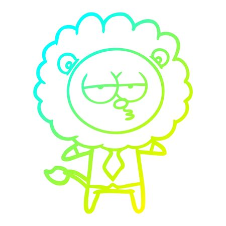 cold gradient line drawing of a cartoon bored lion office worker