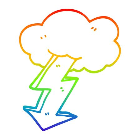 rainbow gradient line drawing of a cartoon lightning bolt