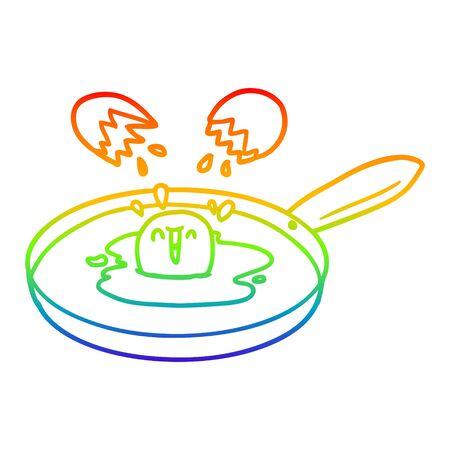 rainbow gradient line drawing of a cartoon egg frying Illustration