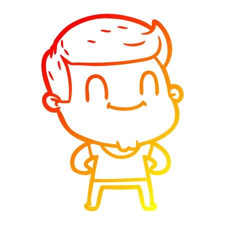 warm gradient line drawing of a cartoon friendly man