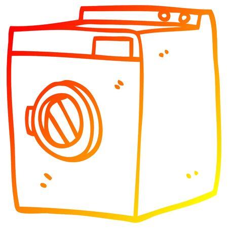 warm gradient line drawing of a cartoon tumble dryer Stock Illustratie