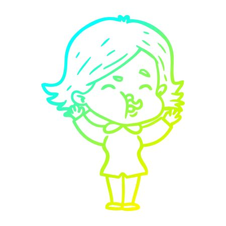 cold gradient line drawing of a cartoon girl pulling face