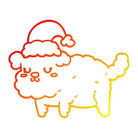 warm gradient line drawing of a cute christmas dog