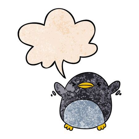 cute cartoon penguin flapping wings with speech bubble in retro texture style